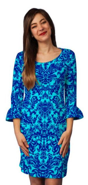 Stylish dark and electric blue printed dress