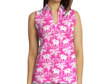 Sleeveless cotton knit top with a collar style neck