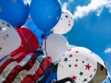 Balloons in the air for Fourth of July celebrations