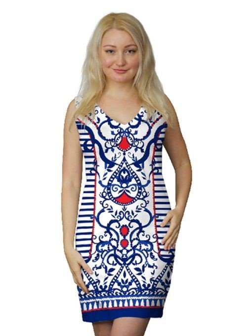 : A woman wearing a printed dress from Barbara-Gerwit