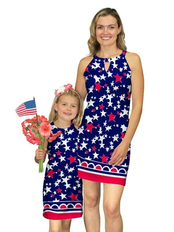 A mother and daughter wearing matching dresses from Barbara Gerwit
