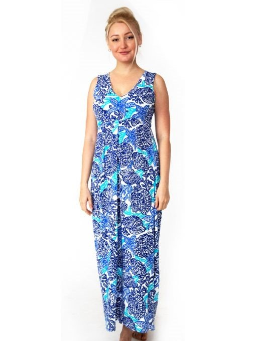 A woman wearing a printed maxi from Barbara Gerwit