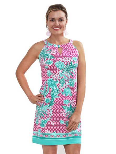 A woman wearing a knitwear dress